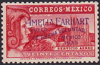 Francobollo Messico Amelia Earhart