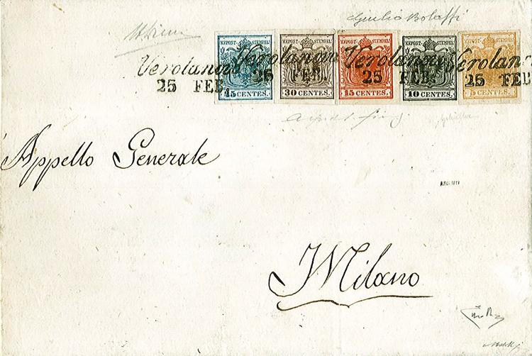 Prima emissione francobolli lombardo veneto su busta