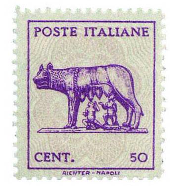 Il francobollo da 50 centesimi della Lupa