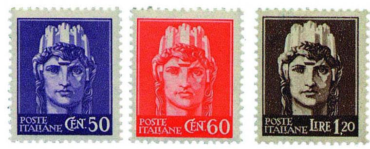 I tre francobolli dell'Italia Turrita