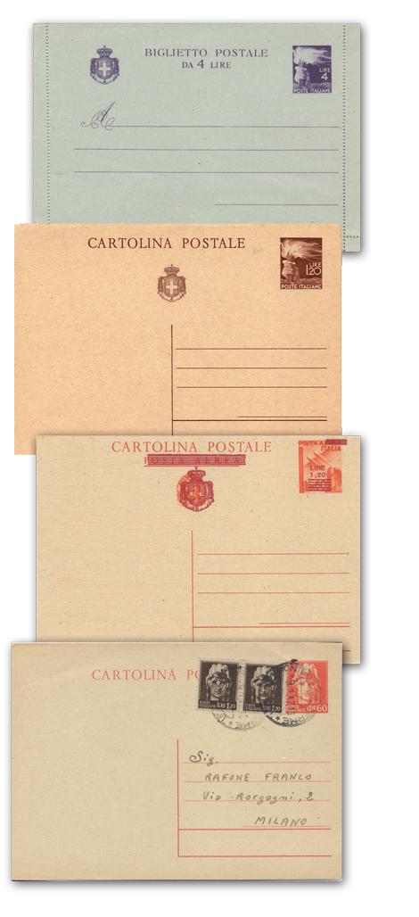 Cartoline postali aree e biglietti postali italiani