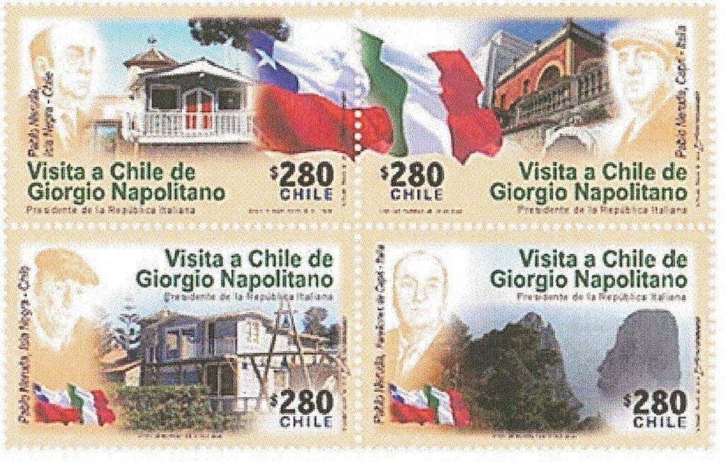 Francobolli Giorgio Napolitano Cile