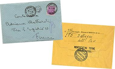 Documenti completi di bollo dell''Hotel Savoy di Sanremo e del Grand Hotel di Montecatini Terme