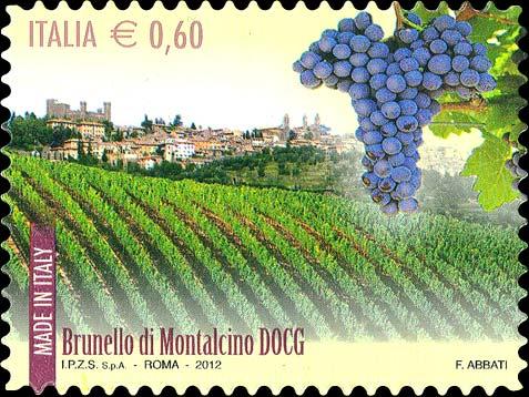 Francobollo vino Brunello di Montalcino