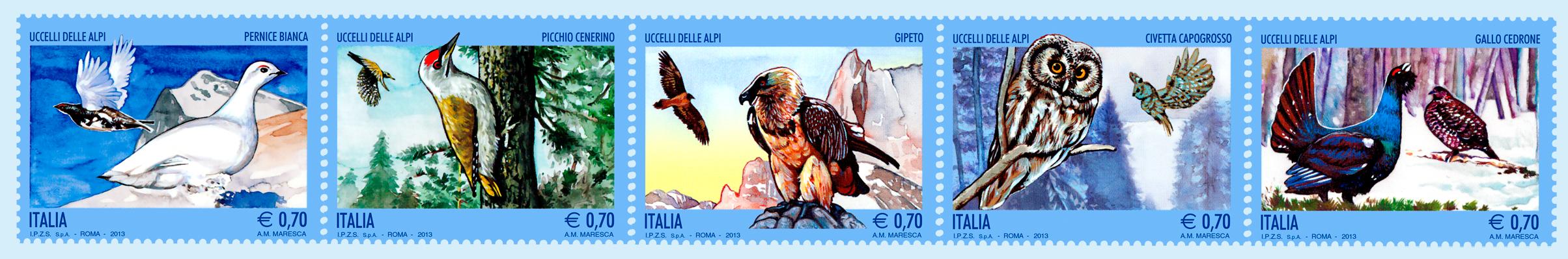 59. francobolli uccelli delle alpi