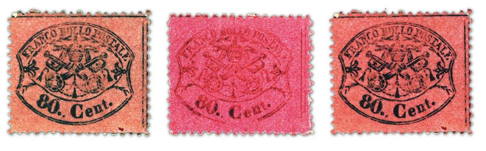 80 centesimi dentellato Stato Pontificio