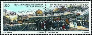 ferrovia napoli-portici francobollo apertura