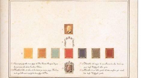 Lo Scrigno Juvara è il saggio dell'emissione e dell'annullo: rappresenta il modello del ritratto di Ferdinando II, dei colori dei sette valori, dell'annullo e del suo posizionamento attorno al francobollo