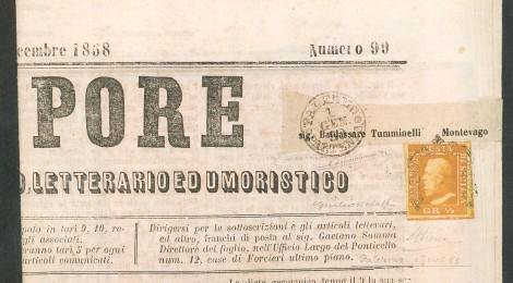 """Il 1/2 grano che affranca la copia del giornale """"Il Vapore"""" è annullato il 1 gennaio 1859, primo giorno d'uso dell'emissione."""