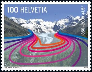 francobollo svizzero ghiacciai 2009