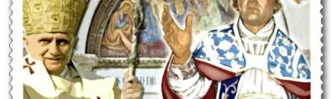 """Insieme su un francobollo italiano i due papi della """"rinuncia"""""""